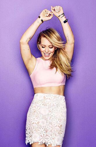skirt hilary duff lace skirt crop tops top spring skirt pink top