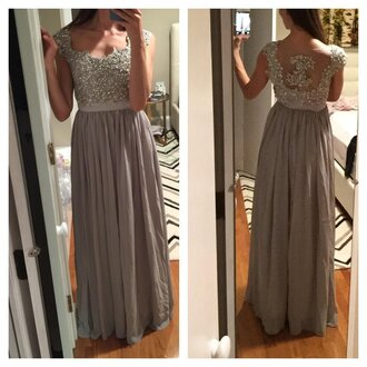 dress silver dress grey dress prom dress long evening dress lace dress chiffon dress beaded lace dress