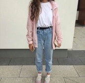 jacket,pink,tumblr,coat,girl,cute,pink jacket,jeans,pants,blue,blue jeans,baby blue,pastel blue,tumblr outfit,girly,belt,old,80s style,90s style,old school,rose,vintage,high waisted jeans,kawaii,grunge,ripped jeans,shoes,t-shirt,pastel,pale,light pink,cool,fashion,light,new balance,white t-shirt,medium wash jeans,hipster,indie,mom jeans,boyfriend jeans,blouse,teenagers