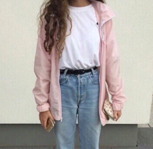jacket pink tumblr coat girl cute pink jacket jeans pants blue blue jeans baby blue pastel blue tumblr outfit girly belt old 80s style 90s style old school rose vintage high waisted jeans 80s style kawaii grunge ripped jeans shoes t-shirt pastel pale light pink cool fashion light new balance white t-shirt medium wash jeans hipster indie mom jeans boyfriend jeans blouse 90s style teenagers abby moavsi baby pink jacket long coat windbreaker denim