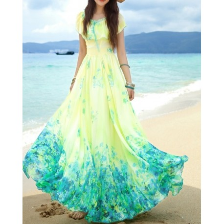 Yellow chiffon beach dress lml2002 - lol-malls - Trustful Online Shopping for Women Dresses