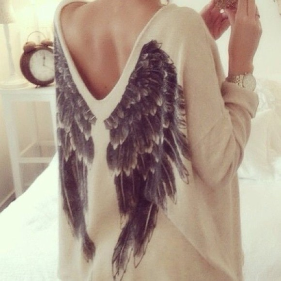 cream shirt sweater white angel wings black angel wings beige sweater beige angel wing sweater open back long sleeve cream angel wings sweater cute sweaters sweet warm lovely blouse angels wings