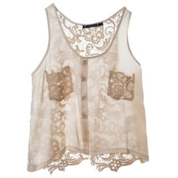 top blouse lace crochet cami