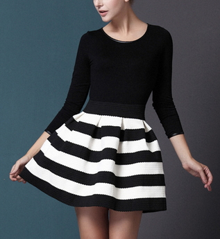 Black White Striped Dress - Juicy Wardrobe
