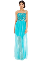 dress,embellished,jewelled,maxi,tulle skirt,aqua,black,strappy,beaded,sequins,sheer skirt