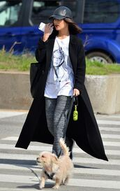 hat,coat,vanessa hudgens,leggings,top,streetstyle,cap,pants,sweatpants