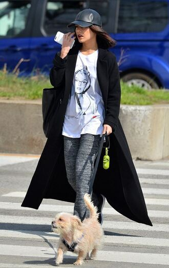 hat coat vanessa hudgens leggings top streetstyle cap pants sweatpants