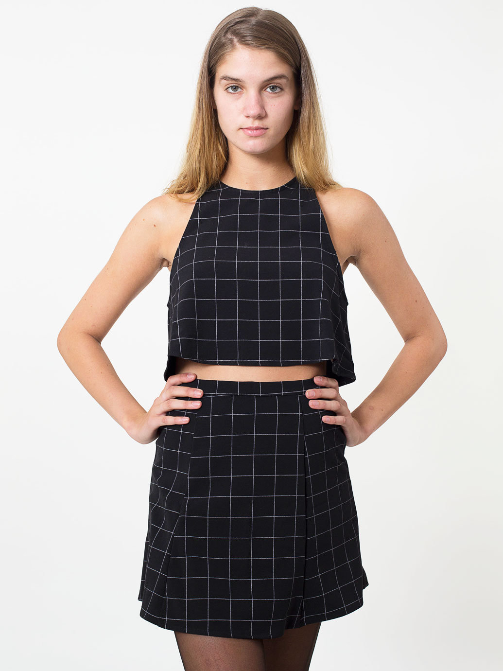 The Grid Print Lulu Mini Skirt | American Apparel