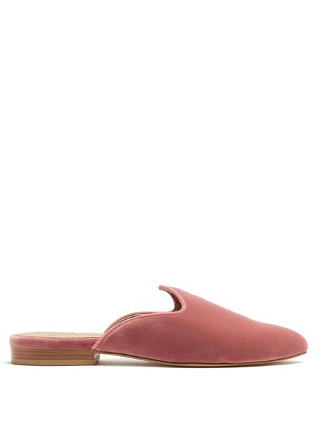 LE MONDE BERYL Venetian backless velvet slipper shoes in pink