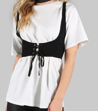 blouse girly white white top white t-shirt white shirt t-shirt full corset top corset belt bralet top corset bra black belt