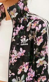 jacket,adidas jacket,floral,too,adidas,swag,urban,coat,athletic,windbreaker,sports jacket,flowers,floral jacket