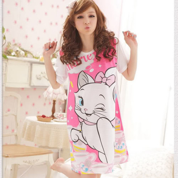 pjs pajamas night shirt night gown kitty shirt cat shirt cats