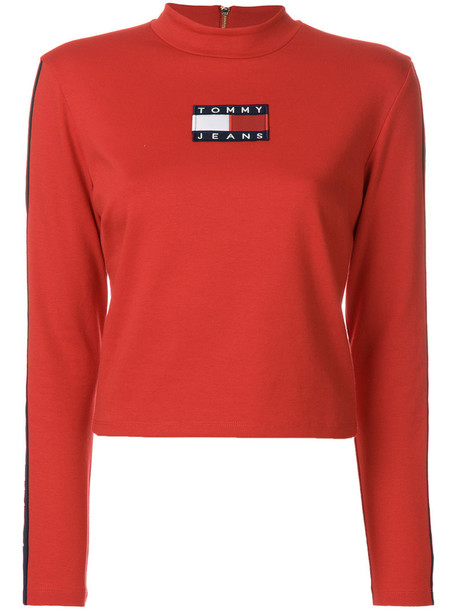 tommy jeans jumper women spandex cotton red sweater