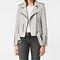 Allsaints us: womens balfern leather biker jacket (light grey)