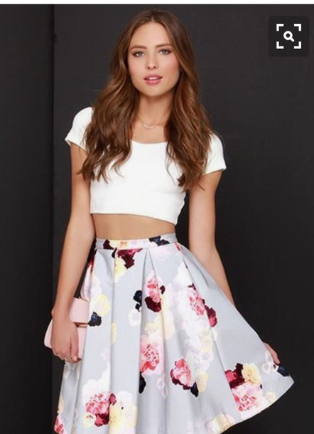Top pretty white crop tops floral skirt tumblr outfit skirt top pretty white crop tops floral skirt tumblr outfit skirt flowers floral white top white white shoes pumps wheretoget mightylinksfo