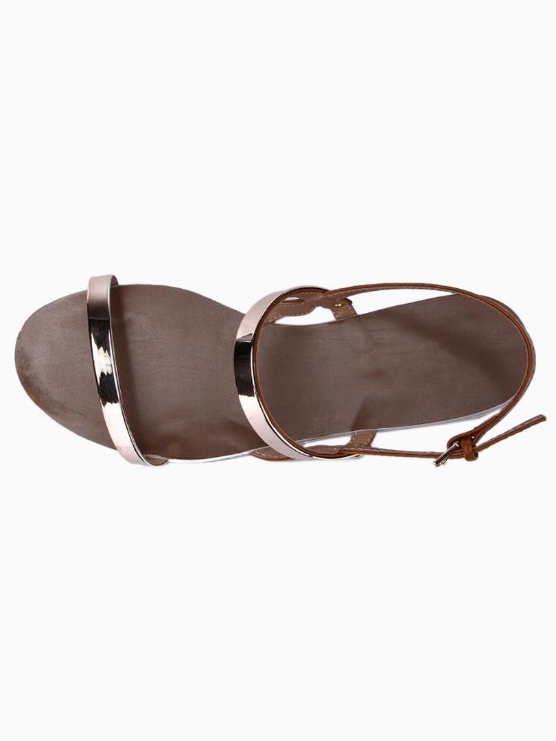 Slim Metallic Strap Flat Sandals in Brown - Choies.com