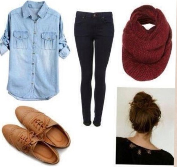shoes scarf jeans