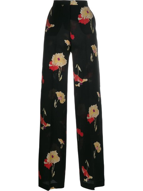 women floral print black silk pants