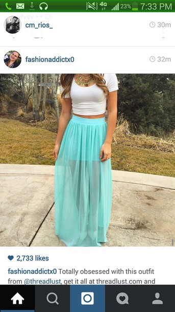 skirt maxi skirt turquoise skirt top