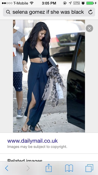 skirt navy selena gomez slit maxi skirt