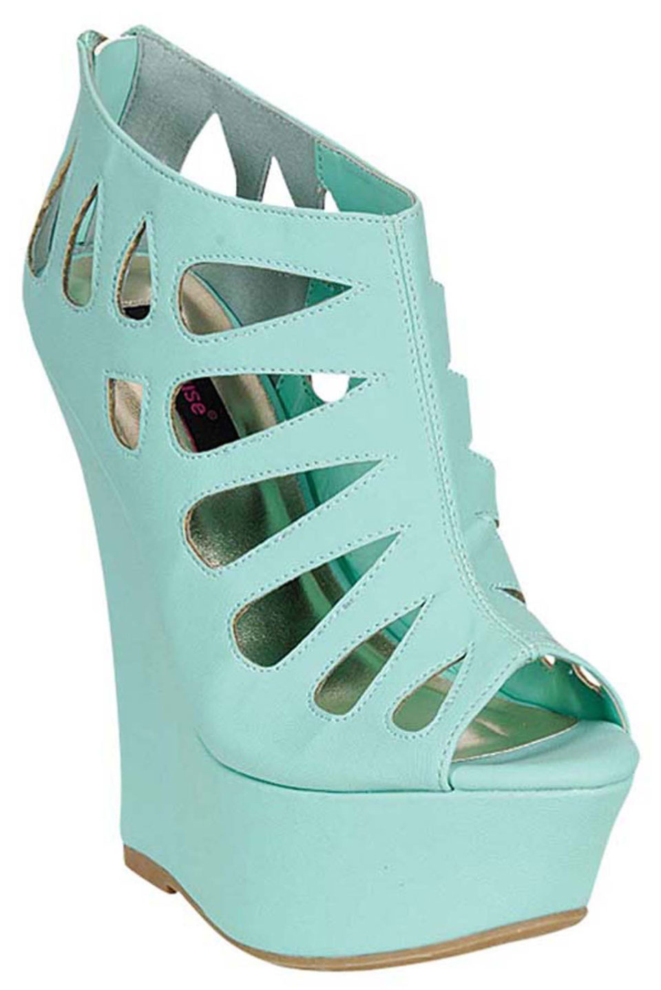Dollhouse caged wedge bootie in mint