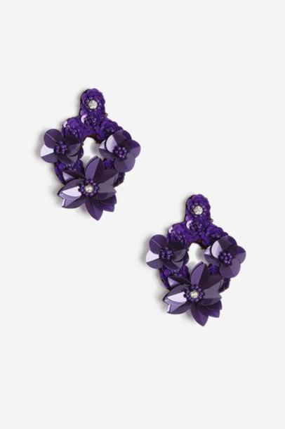 Topshop earrings purple jewels