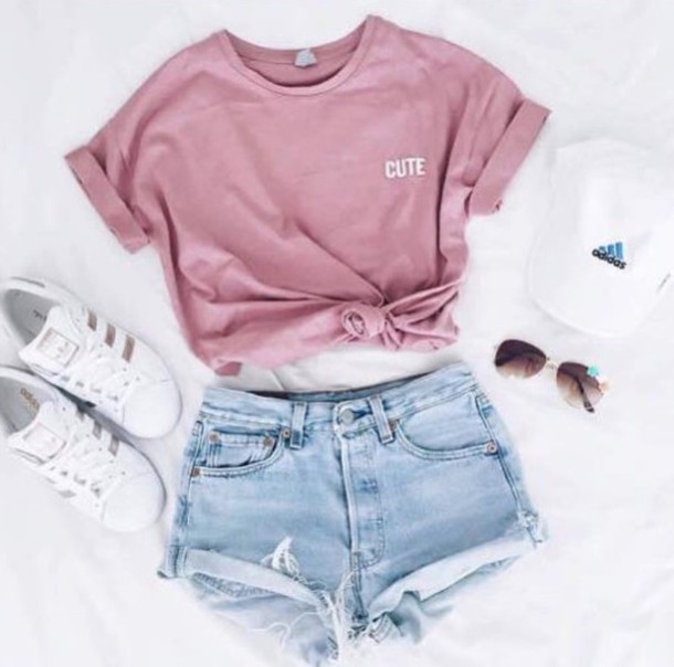 shirt t-shirt pink cute adidas superstars adidas cap outfit summer pink t-shirt pink top crop tops instagram shorts pastel pink hat top shoes adidas shoes causal shoes sneakers running running shoes white gold adidas originals sunglasses short shorts light blue girly basics top basic tumblr tumblr outfit addias shoes denim denim shorts cute top blue pink shirt pink dress white dress light pink dusty pink blouse tie top glasses shortsdenim