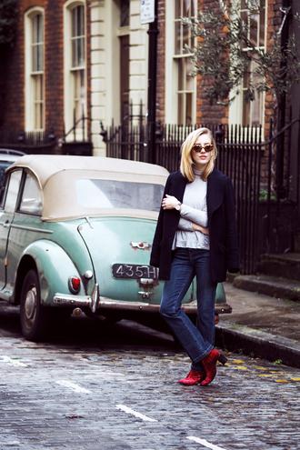 framboise fashion blogger jacket jeans red heels black jacket