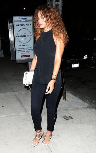 top pants sandals rihanna all black everything summer outfits shoes