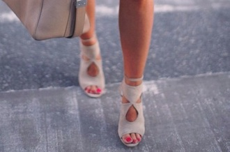 sandals high heels beige