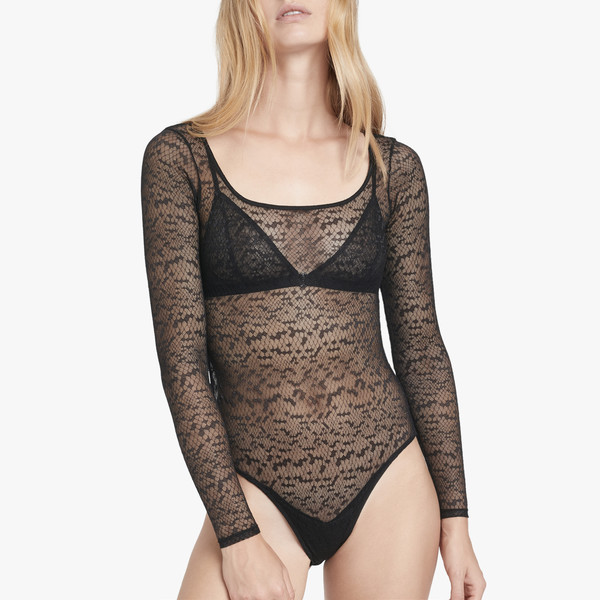 underwear body bodysuit black lace scoop neck low back