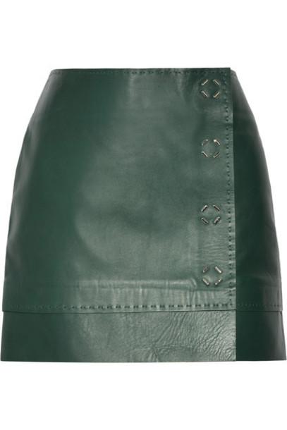 MUGLER skirt mini skirt mini forest leather green forest green