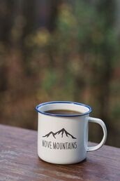 home accessory,mug,cup,coffee,mountains,camping,campside,quote on it,white,home decor