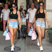 shoes,rihanna,sunglasses,necklace,sneakers,bag,jewels,top,shorts,denim shorts,short shorts,ripped,crop tops