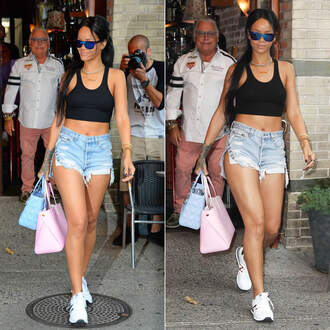shoes rihanna sunglasses necklace sneakers bag jewels top shorts denim shorts short shorts ripped crop tops