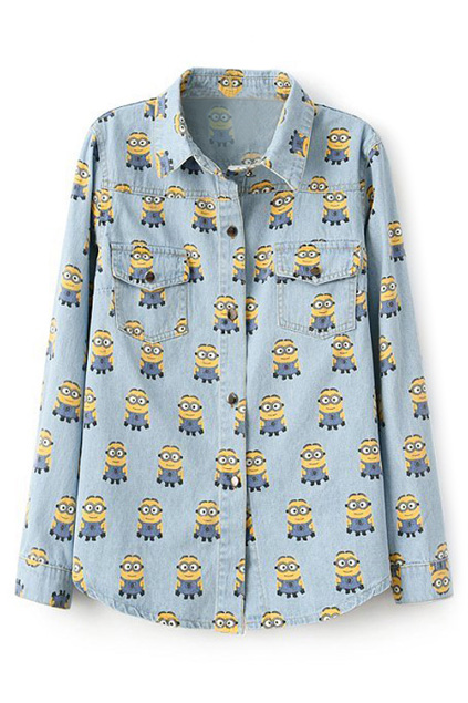 Minions Print Long Sleeves Light-blue Denim Shirt   Pariscoming