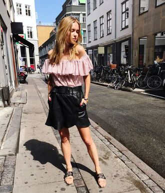 top ruffled top pink top off the shoulder off the shoulder top skirt leather skirt wrap skirt black skirt ballet flats flats