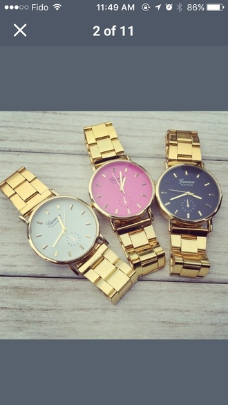 jewels gold watch geneva white black pink