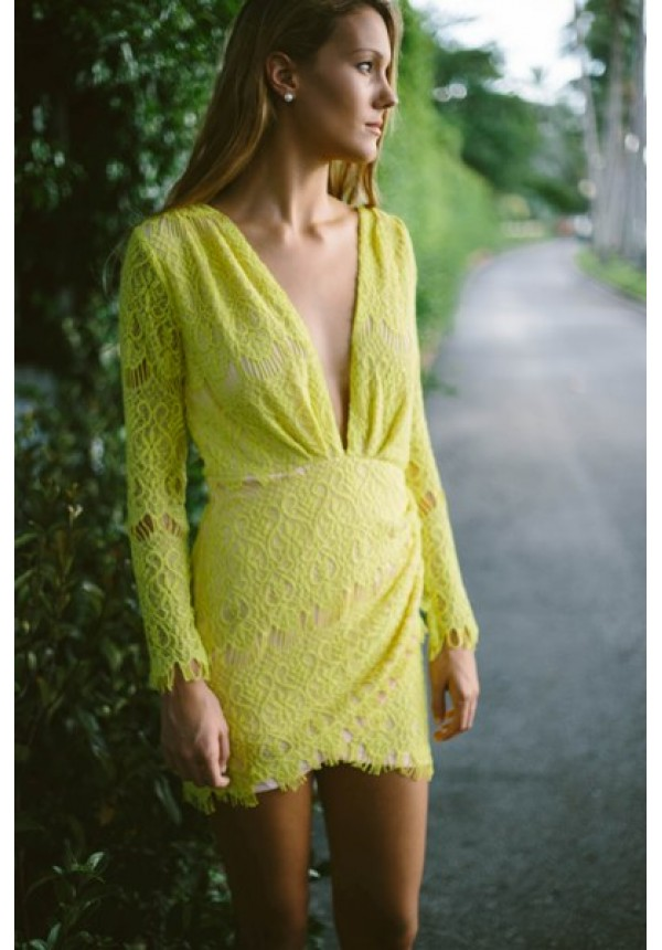 Chelsea- Long sleeve yellow lace dress with plunging neckline Pre-