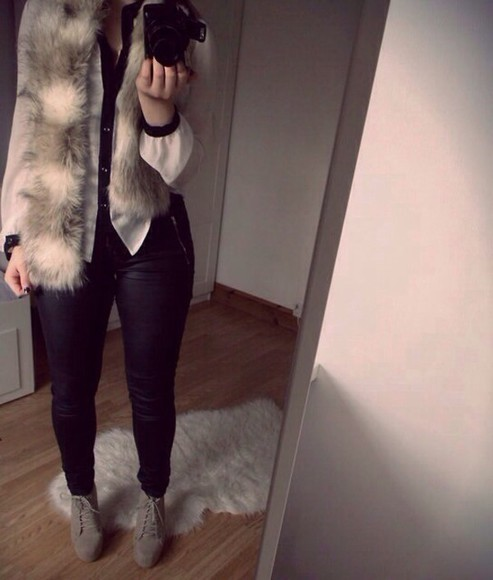 autumn, winter autumn winter outfits white black blouse shirt black and white fur fall outfits cold weather fur coat fur scarf black leggings rusty brown brown high heels brown wedges summer outfits autumn outfit