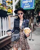 dress,mini dress,wrap dress,leopard print,denim jacket,crossbody bag,sunglasses,hat