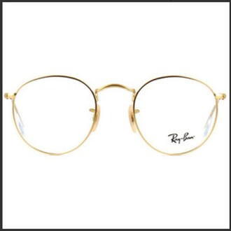 sunglasses gold clear gold frame glasses basic glasses cute rayban