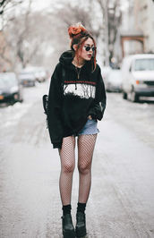 top,socks,tumblr,hoodie,black hoodie,necklace,stacked jewelry,hair,red hair,tights,net tights,fishnet tights,boots,black boots,denim shorts,shorts,sunglasses,grunge