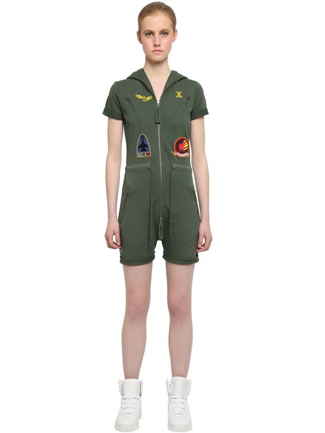 ONEPIECE French Terry Cotton Aviator Jumpsuit in green