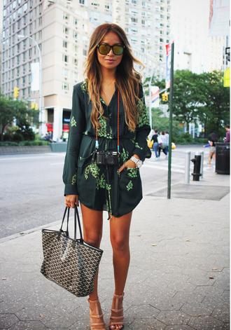 dress floral shirt green dress long sleeves long sleeve dress pockets dress with pockets vneck dress vneck green shoes kimono