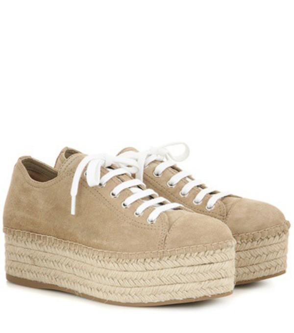Miu Miu Suede Espadrille-style Platform Sneakers in beige / beige
