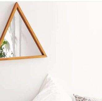 home accessory triangle triangular shelf cute pretty tumblr hipster boho mirror home furniture boho decor