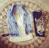 pants,leopard print,printed leggings,leggings,jewelry,necklace,bracelets,sunglasses,earrings,demin,denim jacket,blazer,white,dark blue,orange,cute,jacket