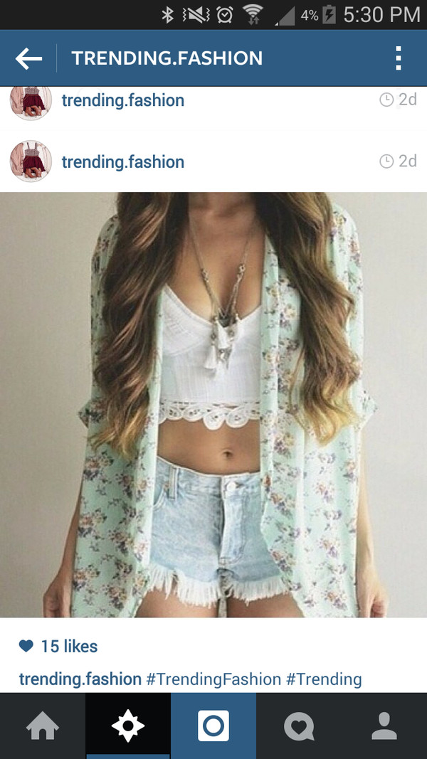 cardigan floral cardigan white crop tops necklace