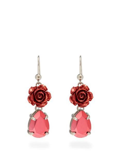 Prada - Rose Drop Earrings - Womens - Pink